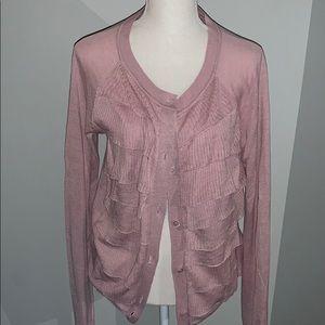 Jcrew Women's Silk & Linen Rose Pink Cardigan